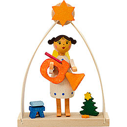 Tree ornament angel in arch with french horn  -  8cm / 3.1inch