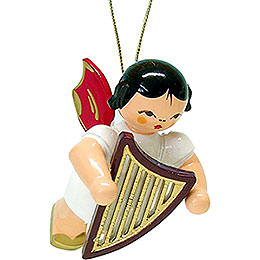 Tree ornament angel with lyre  -  red wings  -  floating  -  5,5cm / 2.1inch