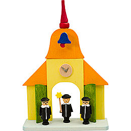 Tree ornament church with carolers  -  9cm / 3.5inch