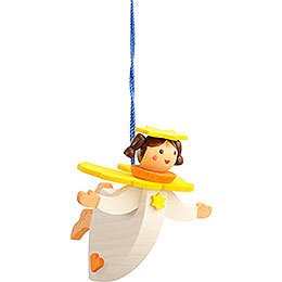 Tree ornament floating angel yellow with thread  -  6cm / 2.4inch