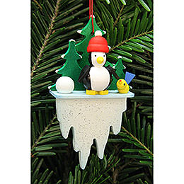 Tree ornament penguin on icicle  -  5,5x8,8cm / 2.2x3.4inch