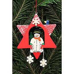 Tree ornament snowman in star  -  9,5x9,5cm / 3.7x3.7inch