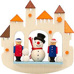 Tree ornament town gate snowmann, natural  -  7cm / 2.8inch