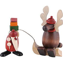 Weihnachtsmann mit Faultier (Elch auf Schlitten)  -  15,5cm