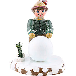 Winter Children Boy with snowball  -  7cm / 3inch
