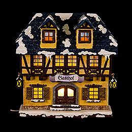 Winterhaus Gasthof beleuchtet  -  15cm