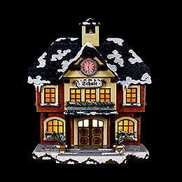 Winterhaus Schule beleuchtet  -  15cm