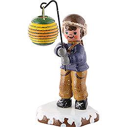 Winterkinder Junge mit Kugellampion  -  10cm
