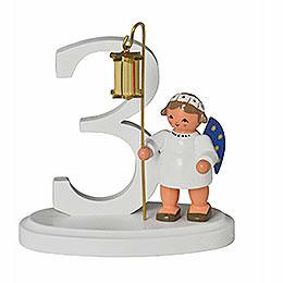 """Zahl """"3"""" mit Engel  -  7cm"""